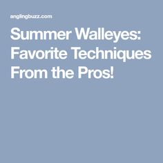 Summer Walleyes: Favorite Techniques From the Pros!