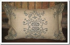 Damask pillow -- love these colors! Paint Fabric, Stencil Fabric, Stenciling, Fabric Painting, Diy Art Projects, Sewing Projects, Stenciled Curtains, Fabric Stamping, Annie Sloan