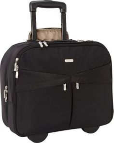 baggallini Skyline Rolling Briefcase Black - Love the styling, although just read several reviews and it is not roomy enough for file folders, binders, etc.  Bummer!