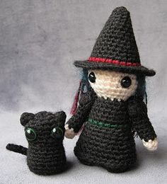 Witch and pussycat crochet (free pattern for cat, witch available to buy)