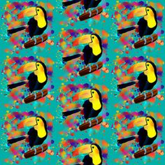 PAINTED TOUCAN SMALL and PAINTING SPLASH SPRAY COLORS ON TURQUOISE BLUE fabric by paysmage on Spoonflower - custom fabric