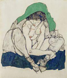 Egon Schiele. Donna accovacciata con foulard verde 1914.