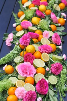 By popular request, today I'm sharing the SUPER easy fruit and flower table runner I created for my girls wine night last week. Fruit Centerpieces, Table Flowers, Pretty Flowers, Diy Flowers, Floral Arrangements, Flower Arrangement, Event Decor, A Table, Party Planning