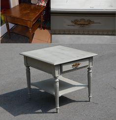 Not exactly my end table, but similar & painted the same color. {Annie Sloan French Linen}