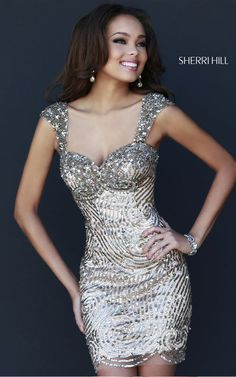 Sherri Hill 9719 Short Gold Prom Dress