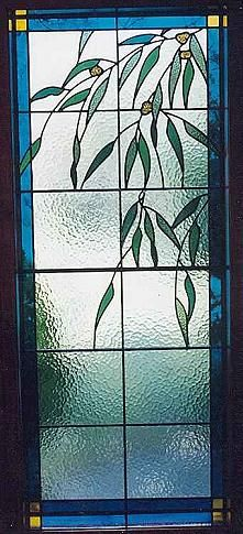 Gum Nut and Gum Leaf Leadlight Wall Light    Copyright to Desired Glass (Bill Mahoney ~ Australian Leadlight Artist)