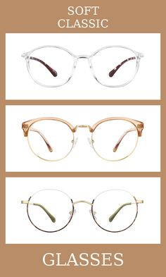 3 Pairs of Glasses for the soft classic body type, one of thirteen Kibbe body types. Soft classics are a blend of femininity and masculinity, but slightly more feminine than classics.   The glasses that suit them the most are minimal, slightly rounded, and elegant.   Learn more about the Kibbe body types at cozyrebekah.com