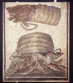 Panel from a mosaic pavement: baskets of fish and fruit - It may have decorated a dining-room (1st-2nd cent) - excavated in Carthage, Tunisia - British Museum