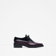 Image 1 of COMBINED LEATHER FLAT SHOES from Zara