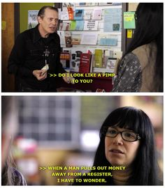 "In S1E1 of ""Portlandia,"" Steve Buscemi guest stars in the Feminist Bookstore (Women & Women First) skit, ""Customers Only."" (Toni has issues, methinks.)"