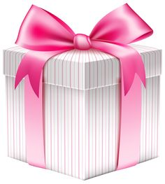 White Striped Gift Box PNG Picture