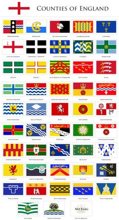 Flags of the counties of England.