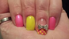 Neon dots with blingy bow