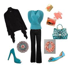 Statement Making Coral & Turquoise  ... with embellished flats or Pumps <3