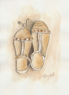 Summer Sandals ink and wash watercolour