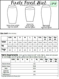 20K Celebration : A Pirate Pencil Skirt! PDF Sewing Pattern P4P knit, stretch, womens, plus, short, knee, midi, free