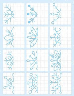 Flores how to draw Graph Paper Drawings, Graph Paper Art, Art Worksheets, School Worksheets, Motifs Blackwork, Form Drawing, 3rd Grade Art, Doodles Zentangles, Winter Art