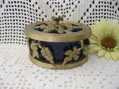Beautiful Brass & Cobalt Blue Trinket Dish