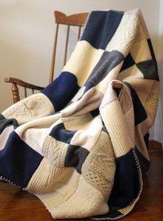 Переделка плед из старого свитера