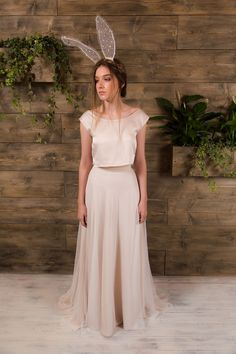 Frankie Bridal seperates || Alternative wedding dresses || Satin crop with polka dot tulle skirt || Champagne seperates || E&W Couture