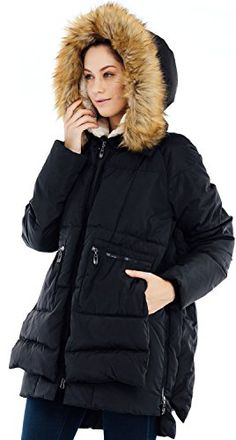 Valuker Womens Down Coat With Fur Hood 90D Parka Puffer Jacket 25BlackS *** Check out the image by visiting the link.