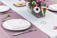Bridal shower with heather purple lavender tablecloth and cherry blossom linen napkins and table runner by Huddleson with white anemones and pink roses...and, of course, champagne