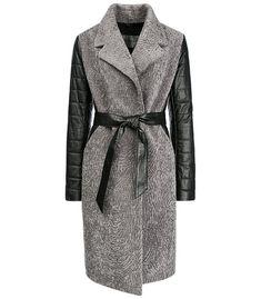 Утепленное пальто из вязаной овчины и натуральной кожи