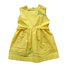 FRENCH VINTAGE 50's / apron dress / summer dress / yellow cotton fabric / green sailboats embroideries / new old stock / size 3 years