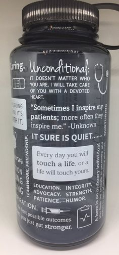 Nalgene® Positive Nursing Words Gray Water Bottle
