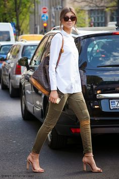 #white shirt, #cargo pants, summer fashion, photo by Street Style Seconds