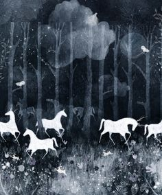 forest moon Art Print by Danse de Lune - X-Small Art And Illustration, Tag Art, Mundo Animal, Moon Art, Grafik Design, Horse Art, Traditional Art, Wicca, Art Inspo