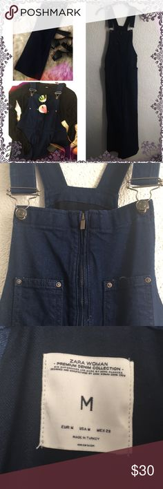 ✨ZARA✨70's Flared Denim Jumpsuit Total 70's inspired ZARA Indigo Cotton Denim Dungarees. Absolutely perfect for ALL seasons ☀️🍂❄️💐 Dress it UP or a dress it DOWN! Super chic and stylish. One-of-a-kind piece you can't find anywhere else!  **ZARA Premium Denim Collection**  (M) Waist 43 cm 17.2 in, Hips 47 cm 18.8 in, Inside Leg 90 cm 36.0 in (Laid) Zara Pants Jumpsuits & Rompers