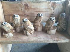 Cute chainsaw carved Owls