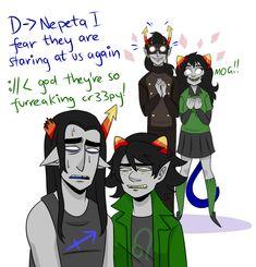 Nepeta and Equius meet Meulin and Horuss - Homestuck