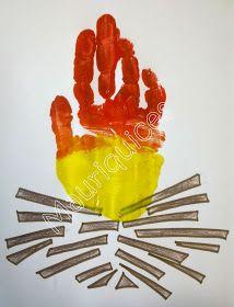 Com lápis de pau castanho pintámos os tronquinhos e com a estampagem da nossa mão fizemos a fogueira de São Martinho.    My hands are ...