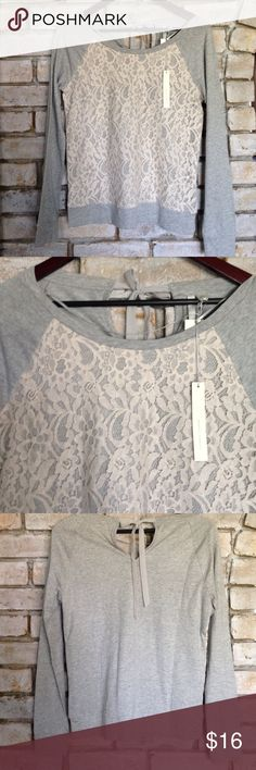 NWT LACE FRONT TOP Comfy grey longsleeved top. Has beautiful lace front. Measures 24 inches long. Cute ribbon tie on the back. Brand new! Lauren Conrad Tops Tees - Long Sleeve