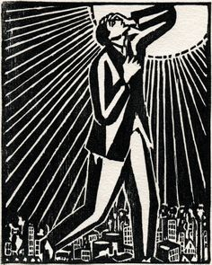 "Frans Masereel - woodcut    Reminds me of quote from Delmore Schwarz ""In Dreams Begin Responsibiities"": ""... I look up once more at the terrifying sun and the terrifying ocean and being unable to control my tears, I get up..."""