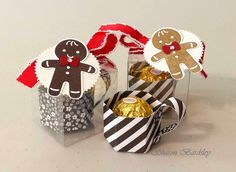 """Stampin' Up! Cookie Cutter Christmas, Clear Tiny Treat Boxes, coffee """"mugs"""" from Neutrals DPS Stack, Glimmer Paper, Ferrero Rocher® Chocolate"""