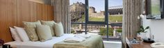 Apex Hotel Rooms in Edinburgh Grassmarket.  Want to sleep in this rrom and wake up w/ a castle out my window!!