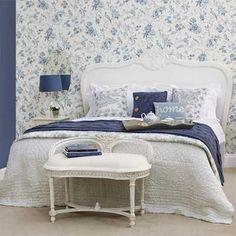 Ideas para decorar un dormitorio con papel pintado y pintura.   Mil Ideas de Decoración