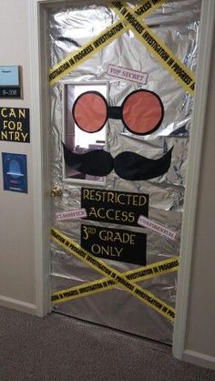 Looking for an awesome classroom door idea for your mystery or detective theme…