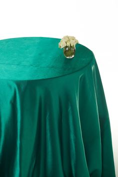 Hunter green satin rounded table cloths #green table cloths #emerald green table cloths #table linen hire  www.decorit.com.au