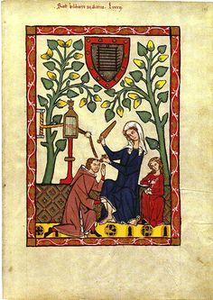 Codex Manesse, Tafel 94: Rost, Kirchherr zu Sarnen. Darstellung des Brettchenwebens. (um 1300)
