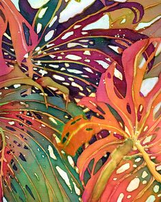 Palm Leaves Painting - Palm Patterns 1 by Deborah Younglao Art Floral, Art Watercolor, Watercolor Flowers, Fabric Painting, Painting & Drawing, Art Tropical, Tropical Prints, Tropical Leaves, Tropical Flowers