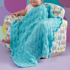 Red Heart Baby Waves Blanket | Yarnspirations Knitted Baby Blankets, Knit Patterns, Knitting Projects, Baby Knitting, Baby Car Seats, Cover Up, Waves, Elegant, Children