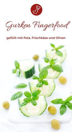 Fingerfood Rezepte, Gurken Rezepte: Rezept für ein tolles Gurken Fingerfood. Gefüllt mit einer Feta Frischkäse Creme und Oliven. Vegetarisch und glutenfrei. Toll für Feiern, fürs Buffet oder eine Party. #fingerfood #kalt #herzhaft #vegetarisch #glutenfrei #buffet #partyfood #easy #schnell