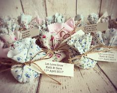 Handmade fabric Flower Seed Wedding Favours.
