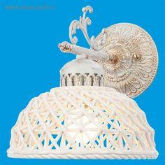 "Бра классика керамика ""Плетенка"" 1 лампа 60W Е27 основание белое с золотом 26х13х26 см"