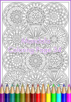 Coloring pages for adults MANDALA inspired, PDF zentangle pattern, printable art   tangle