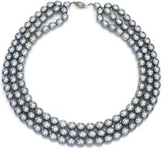 Sterling Silver 9-9.5mm White Freshwater Cultured Pearl 3-rows Necklace with Sparkling Beads 16
